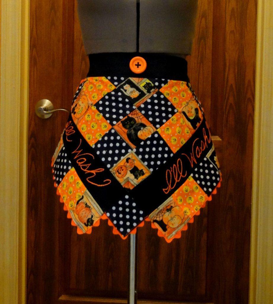 White half apron vintage - Vintage Retro Inspired Half Apron Holloween Themed Orange Black White Colors With