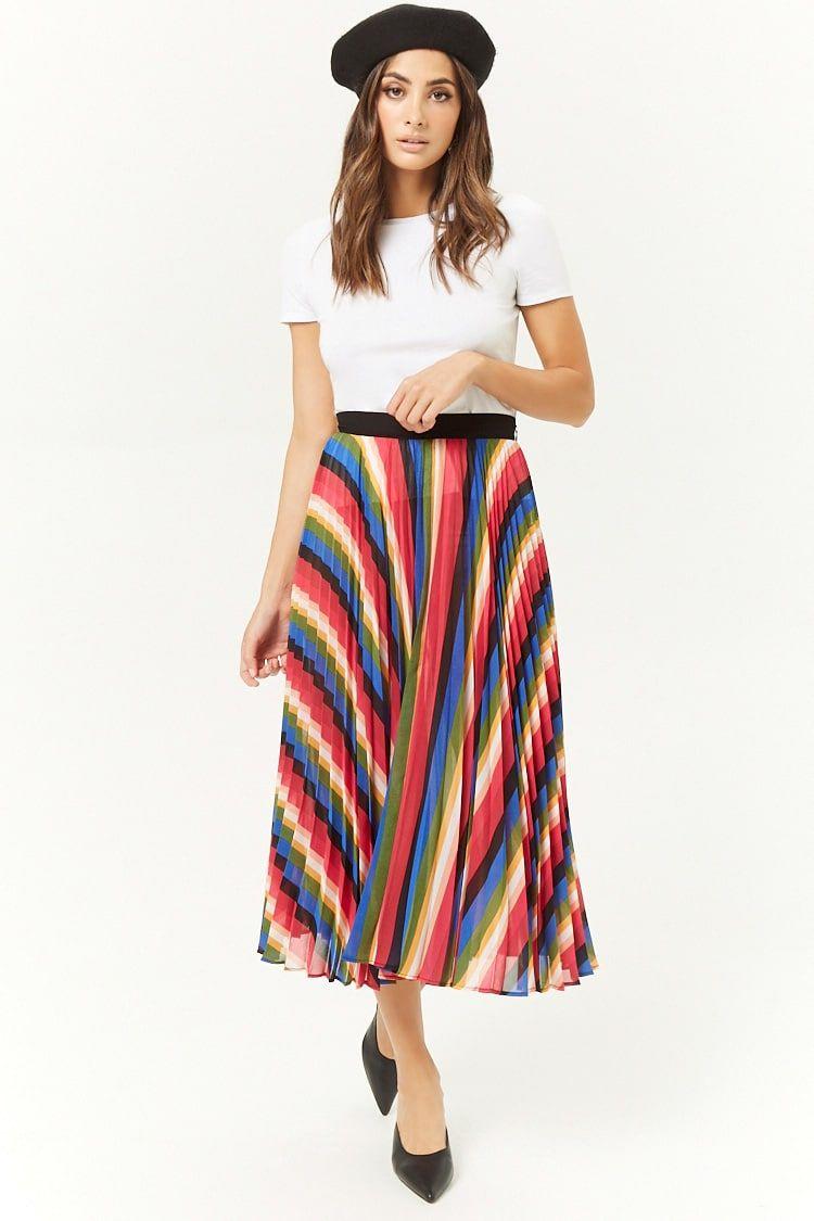 473ec6029c Rainbow Accordion-Pleated Midi Skirt | \\Qūîrkÿ Fãšhįōñ// | Pleated ...