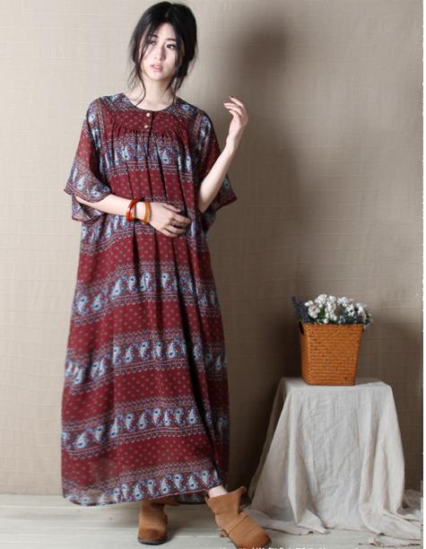 Chiffon sleeved maxi dress