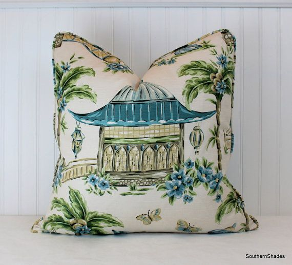 One or Both Sides - ONE Charlotte Moss Mougin Cypress/Watercolor/Henna/Coral/Chestnut Pillow Cover with Self Cording