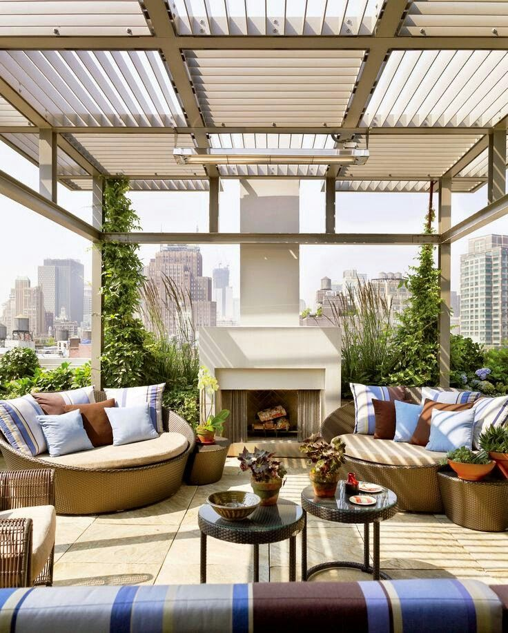 Rooftop Terrace with Fireplace #tgif #laborday #weekend #homedesign - Terrace Design
