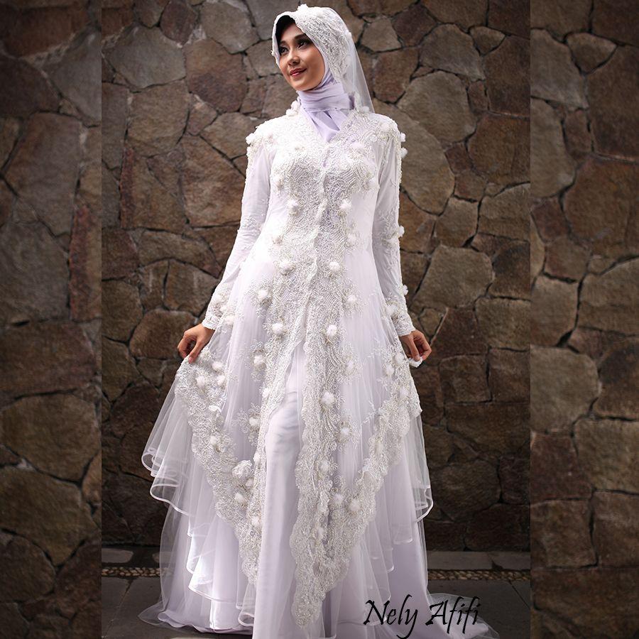 Gaun Pengantin Muslimah Kebaya Modern Brocade Putih 2 In