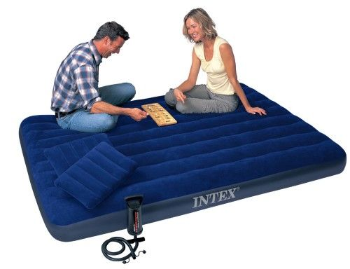 Inflatable Air Mattress Full Size Intex Classic Downy Airbed Air Bed Sleeper