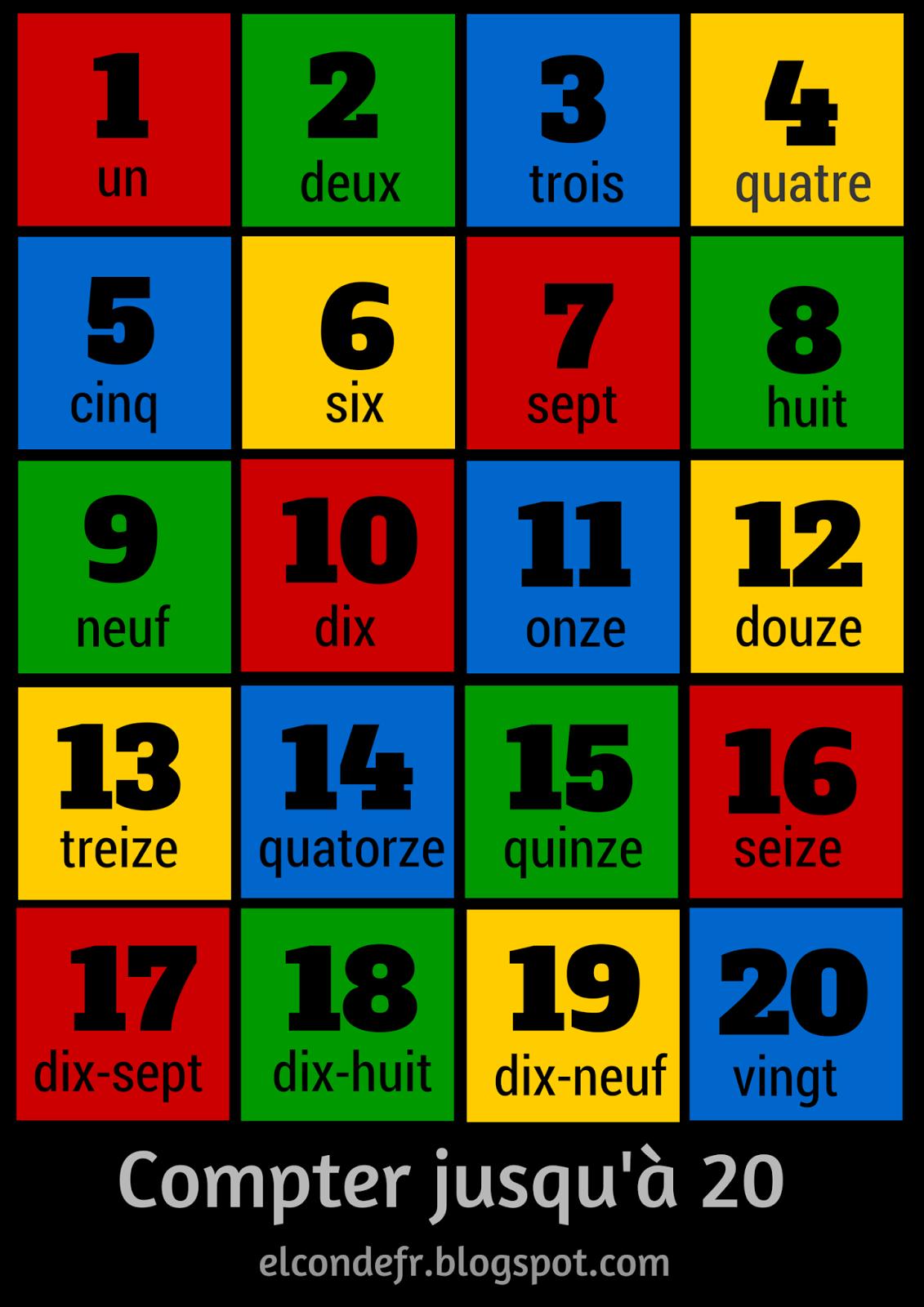 Top Compter jusqu'à 20 | FLE : les couleurs et les nombres | Pinterest  JO58