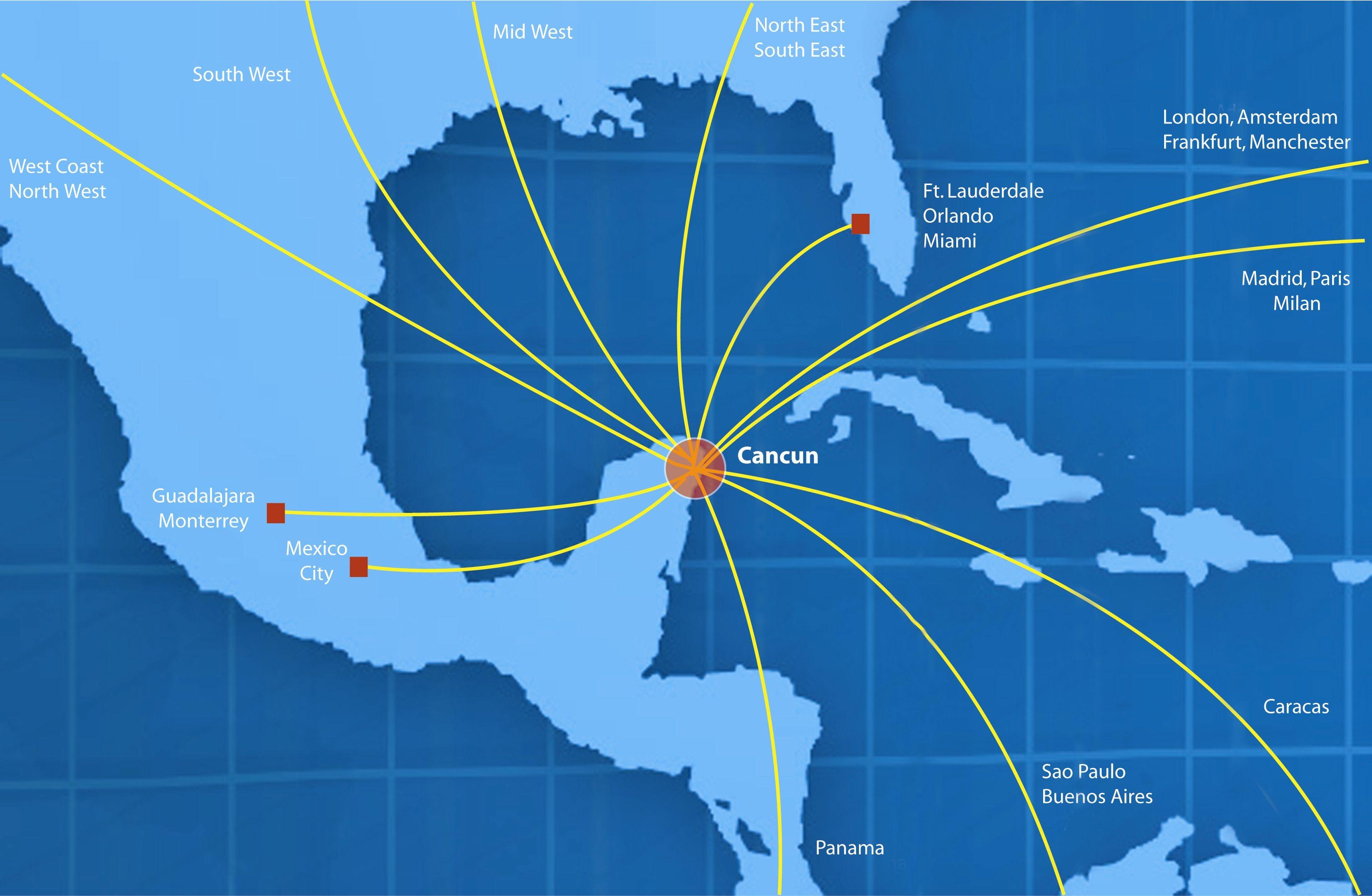 cancun air map routes mappa