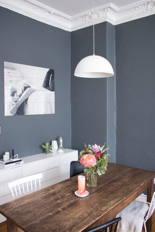 Esszimmer Inspiration Vintage Style Tisch Dunkle Wand Farbe 1. Awesome  Wohnung Einrichten Wohnzimmer Grau ...