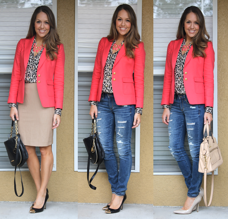 three ways to style via Js everyday fashion coral-leopard-outfits.png
