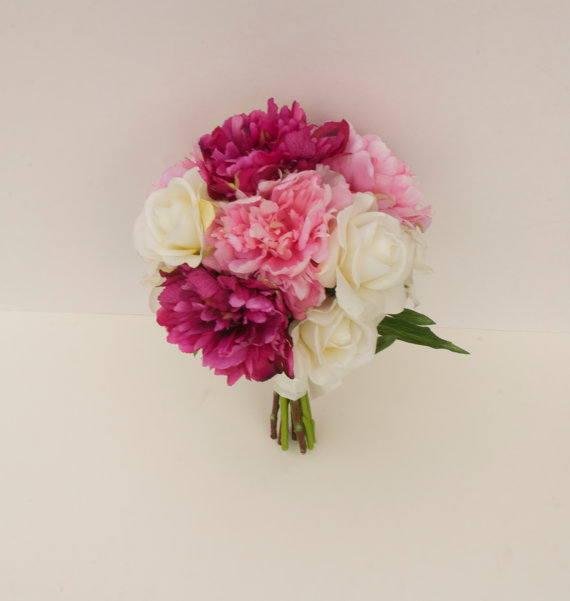 pink peony bouquet (made entirely with artificial flowers!) by Lilywinkel.