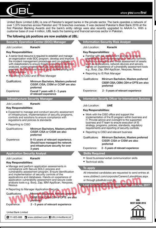 Pakistan Employment (UBL) United Bank Limited Karachi Jobs Latest - ciso resume