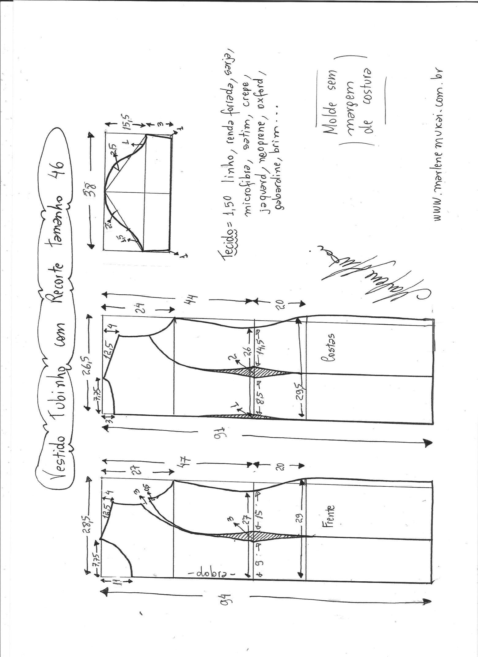 Esquema de modelagem de vestido tubinho com recorte tamanho 46 ...