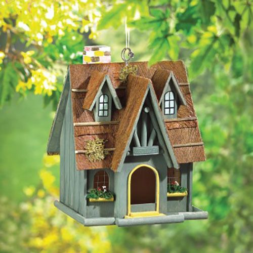 Decorative Square Wood GreenThatched Cottage Birdhouse #Unbranded