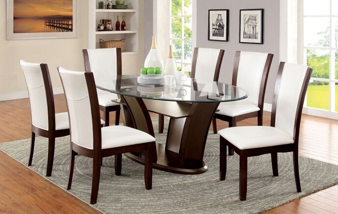 Cm3710 Ot Wh 7pc 7 Pc Latitude Run Thiago Manhattan Ii Dark Cherry Wood Finish Oval Glass Top Dining Set White Chairs Dining Room Sets Dining Table Glass Top Dining Table