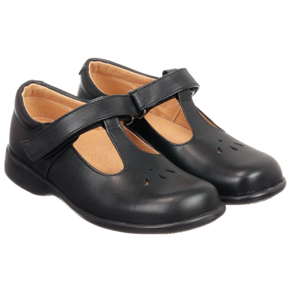 Black Leather T-Bar Shoes