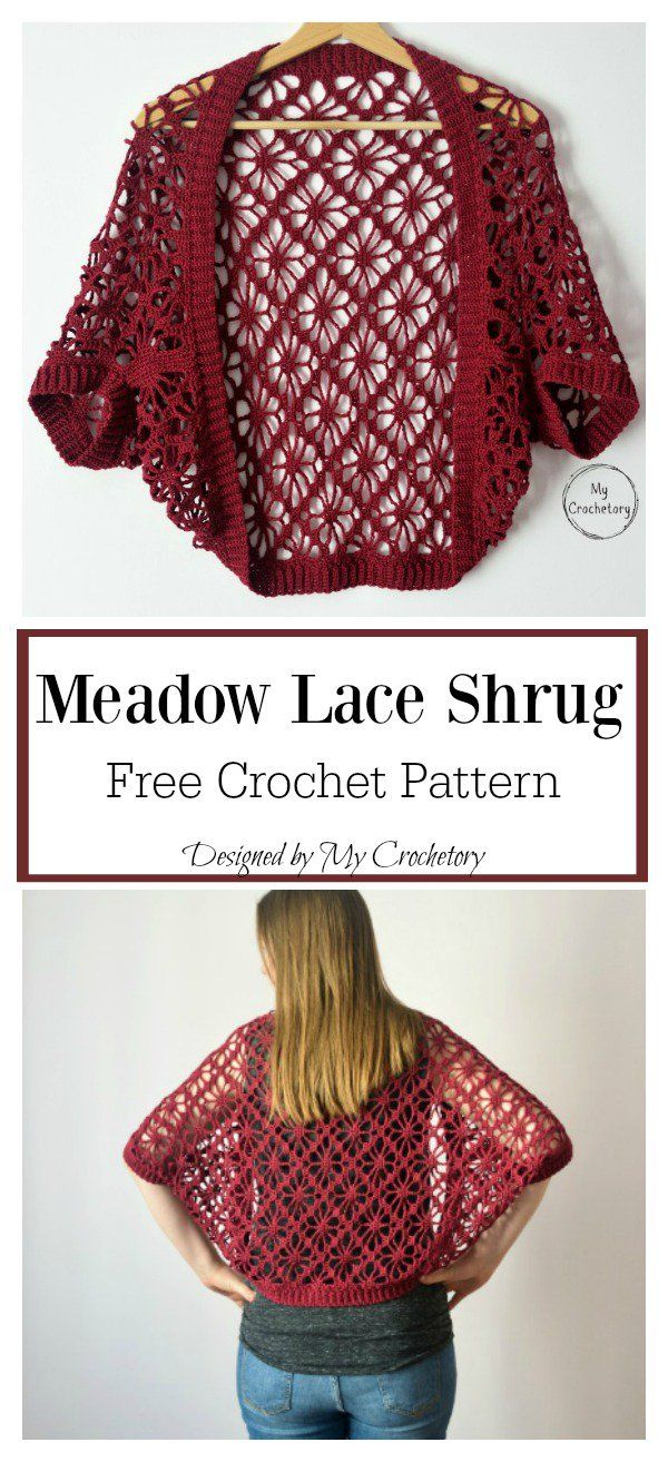 Meadow Lace Shrug Free Crochet Pattern #shrugsweater