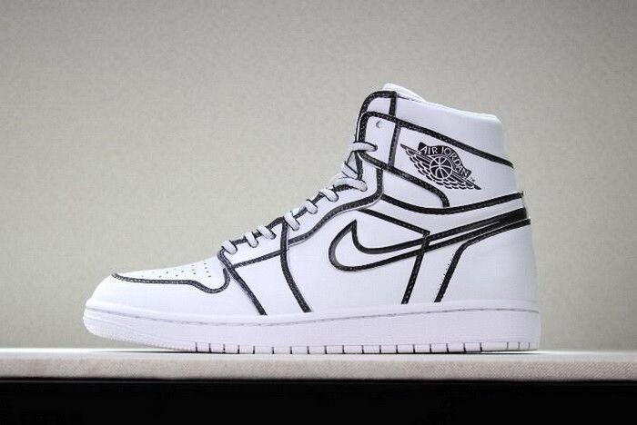 1fa23f5ea95 2018 Joshua Vides x Air Jordan 1 Comic 3D Pencil White Hand-Painted  AA4724-110 | Custom Nike Shoes in 2019 | Air jordans, Sneakers nike jordan,  ...