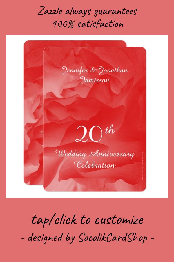 20th Anniversary Party Invitation Coral Rose Petal | Zazzle.com #20thanniversarywedding