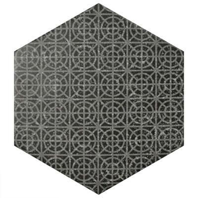 Merola Tile Coralstone Hexagon Melange Black 10 In X 11 1 2 In Porcelain Floor And Wall Tile 11 21 Sq Ft Case Feqcsxmb The Home Depot Porcelain Flooring Merola Tile Floor And Wall Tile