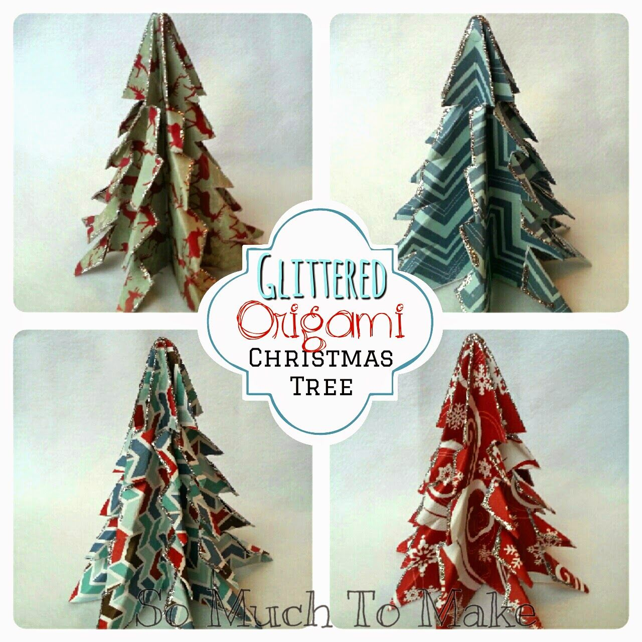 Glittered origami christmas trees origami christmas origami and