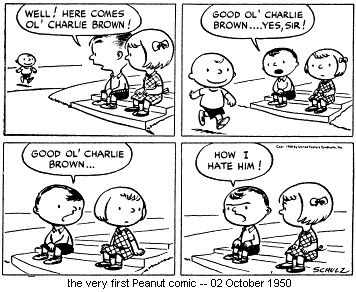 First Peanuts Comic Strip 1950... I love the early darkness of Peanuts... | Peanuts comic strip, Comic strips, Charlie brown