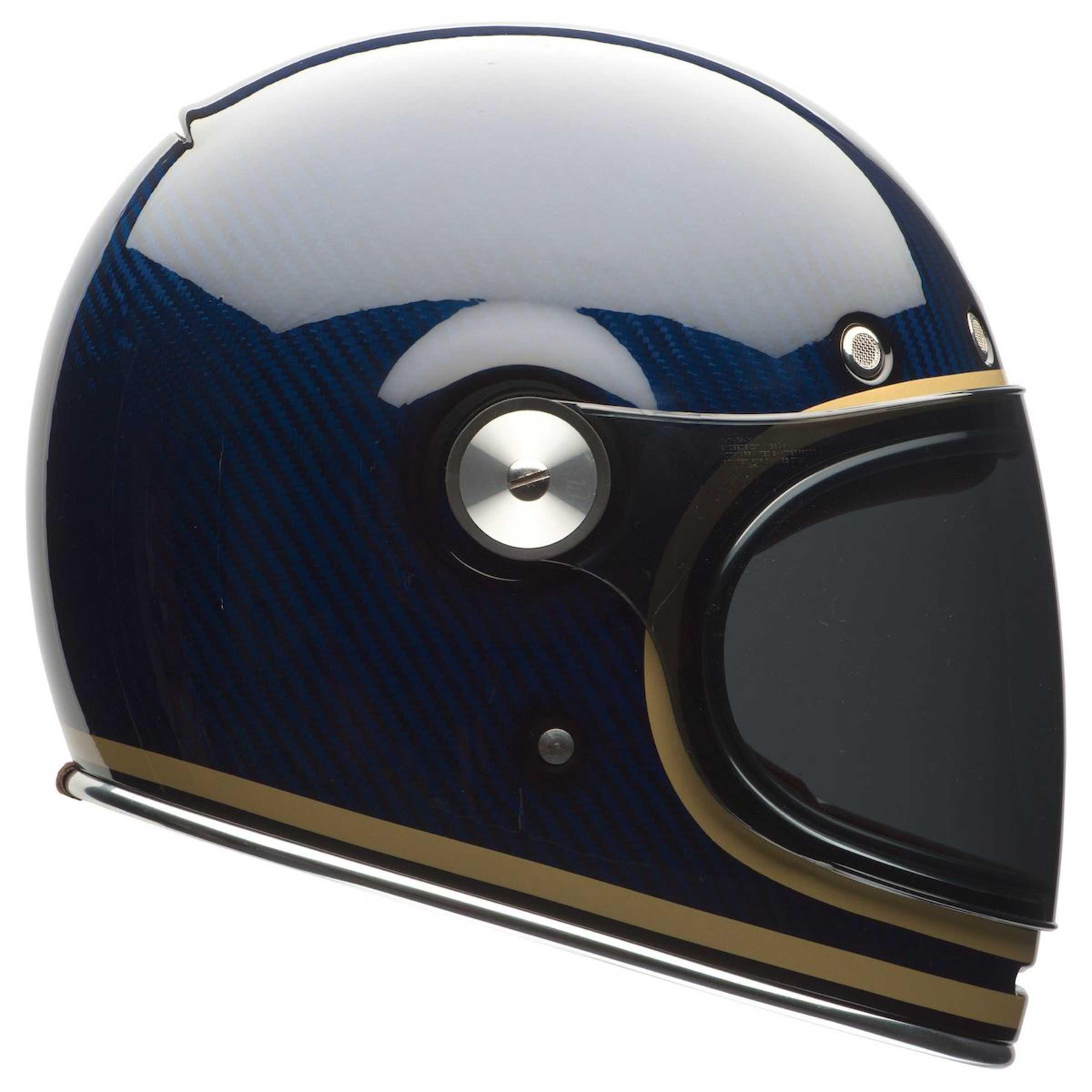 Bell S Vintage Inspired Bullitt Gets A Slick New Update In Blue Carbon Fiber Cool Motorcycle Helmets Motorcycle Helmets Blue Motorcycle Helmets