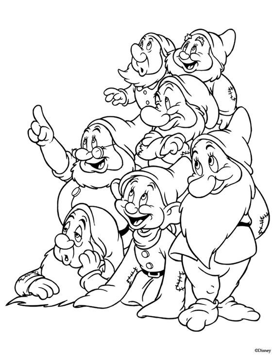 Kids Under 7: Snow White and the Seven Dwarfs Coloring Pages: | Art ...