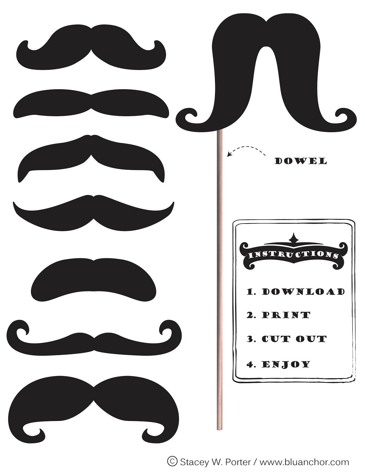 The Art of Stacey W. Porter: Free Printable Moustache Brigade in ...
