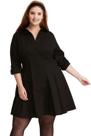 Black Button Down Plus Size Flared Shirt Dress in 2019 | Skater ...