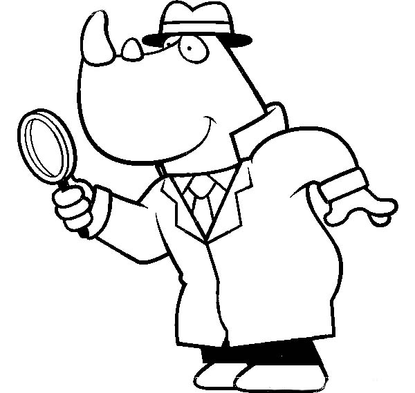 Cartoon Of A Rhino Detective Using A Magnifying Glass Coloring Page Netart Coloring Pages Magnifying Glass Detective