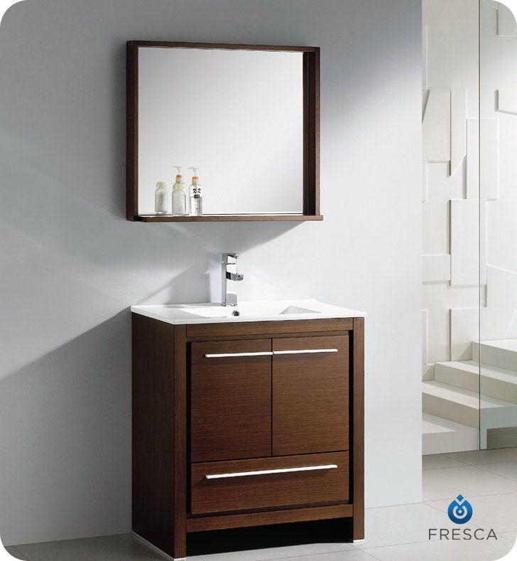 Allier 30 Inch Wenge Brown Modern Bathroom Vanity With Mirror ... on 80 inch bathroom vanity modern, 24 inch bathroom vanity modern, 48 inch bathroom vanity modern, 42 inch bathroom vanity modern,