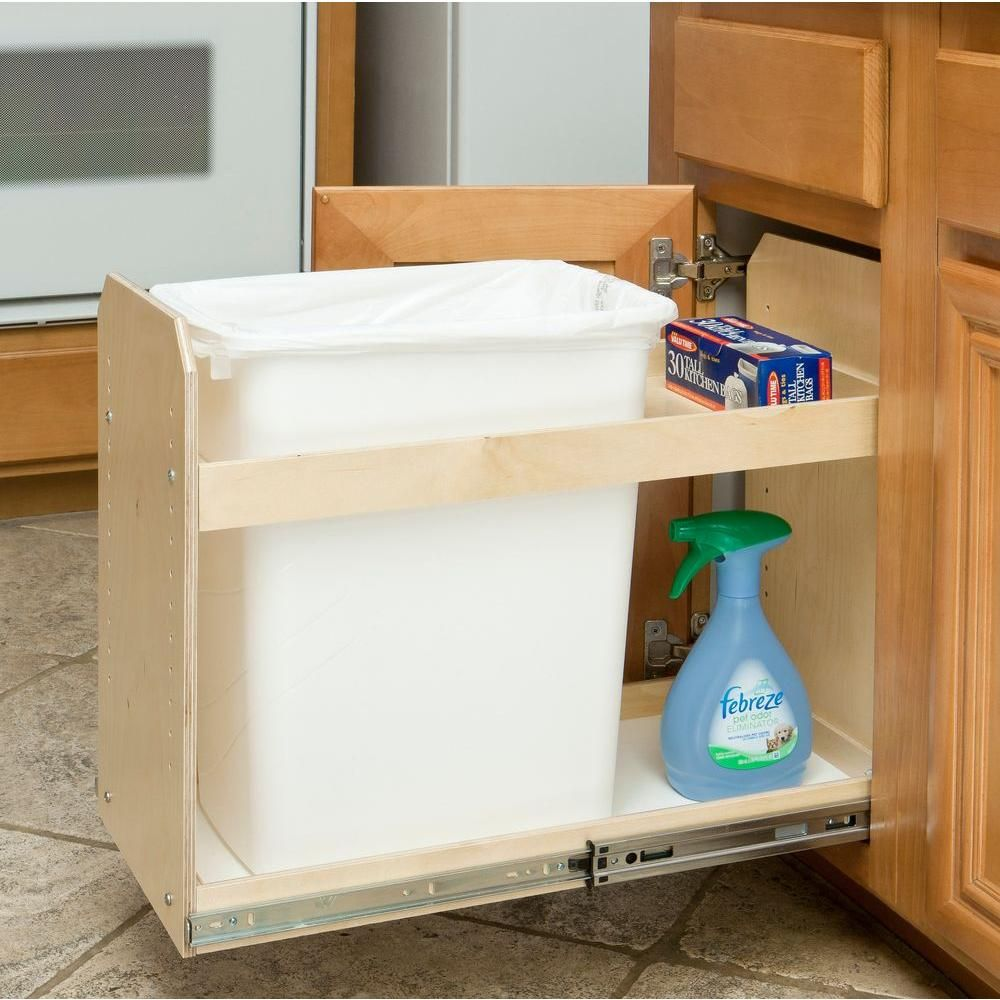Slide A Shelf Made To Fit 35 Qt Single Bin Slide Out Trash Recycle Center 11 In To 24 In Wide Full Extension Bin Not Included Sas Si St The Home Depot Slide Out Shelves Recycling Center A Shelf