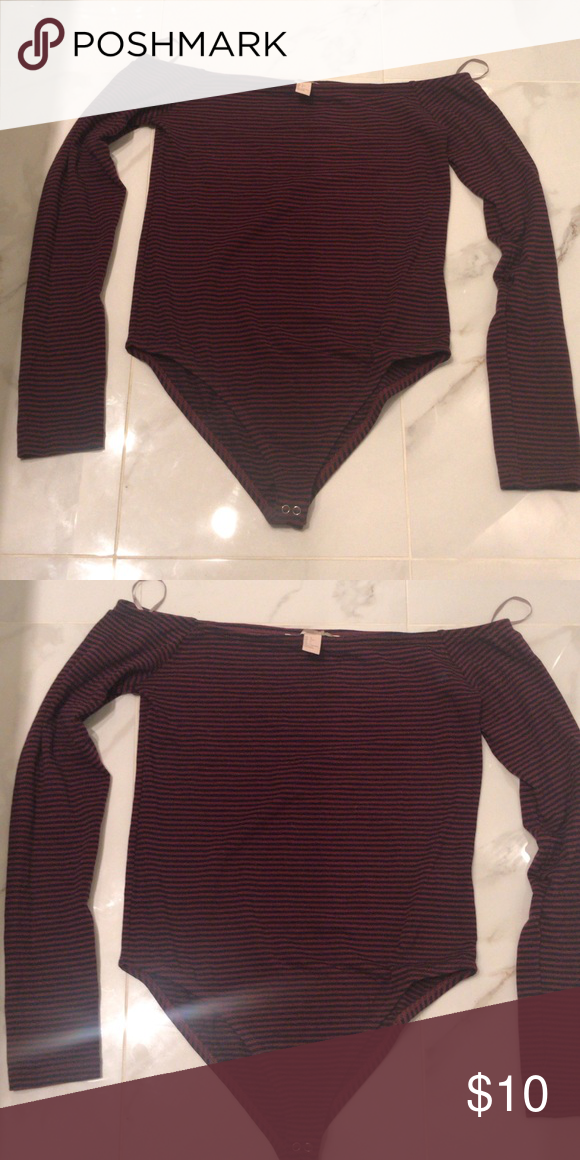 a5a24fc04d Forever 21 red striped bodysuit long sleeve Forever 21 red striped shoulder  body suit long sleeve