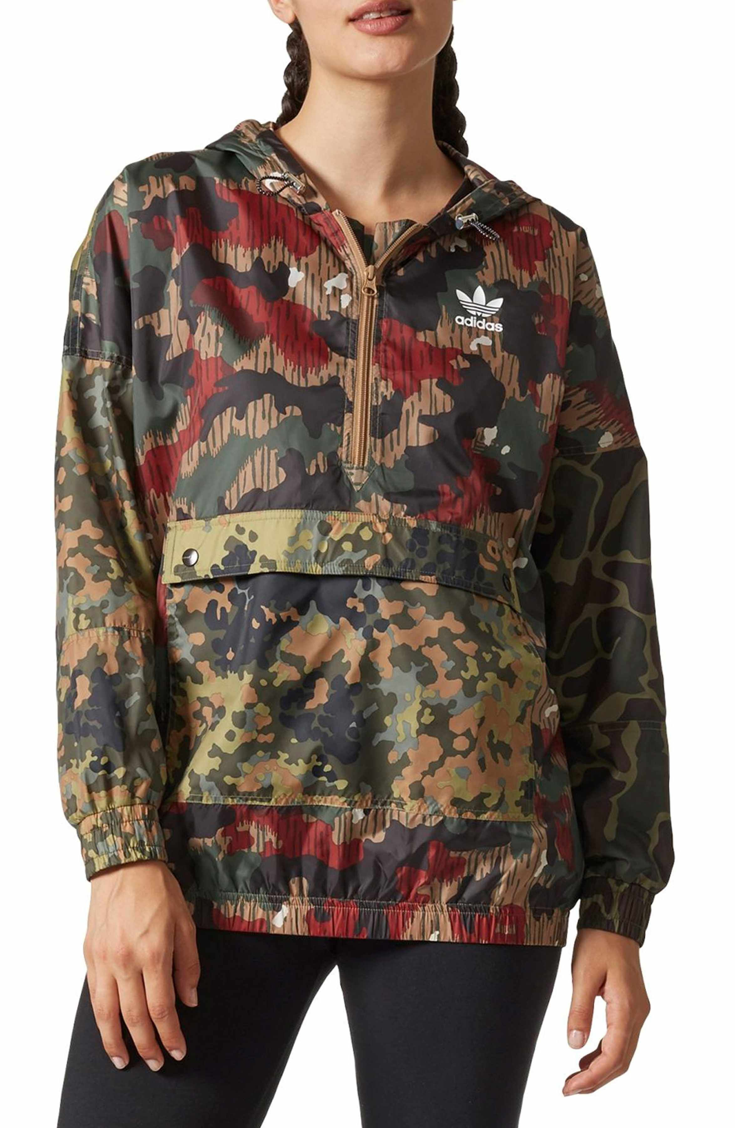 c8c4e288586ee Main Image - adidas Originals by Pharrell Williams HU Hiking Camo Logo  Windbreaker