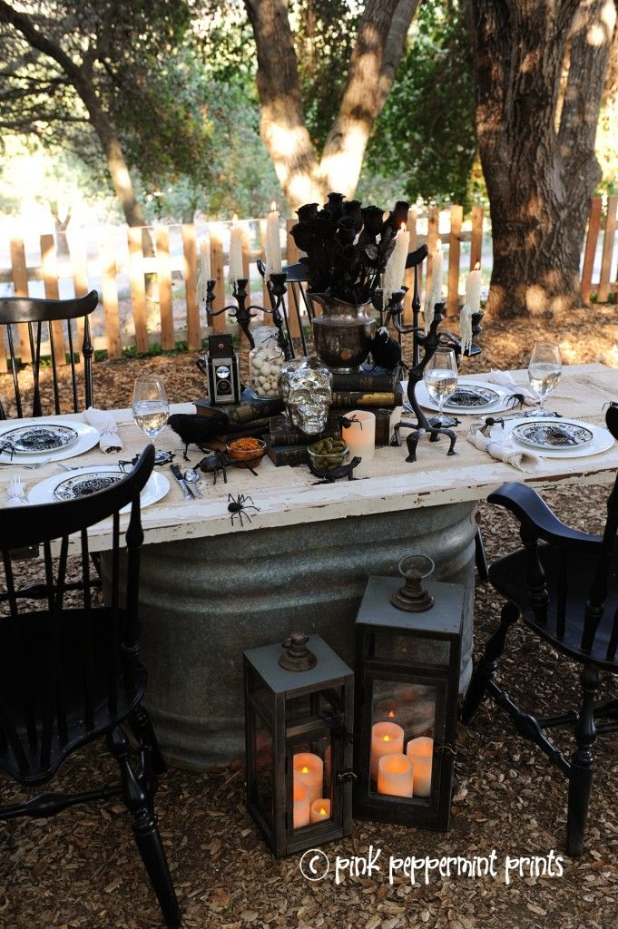 styled shoots pottery barn halloween party bone appetit dinner table set up - Pottery Barn Halloween Decorations
