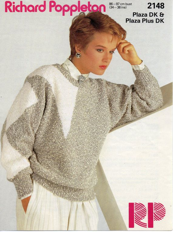 womens sweater knitting pattern geometric sweater dolman sleeve ...