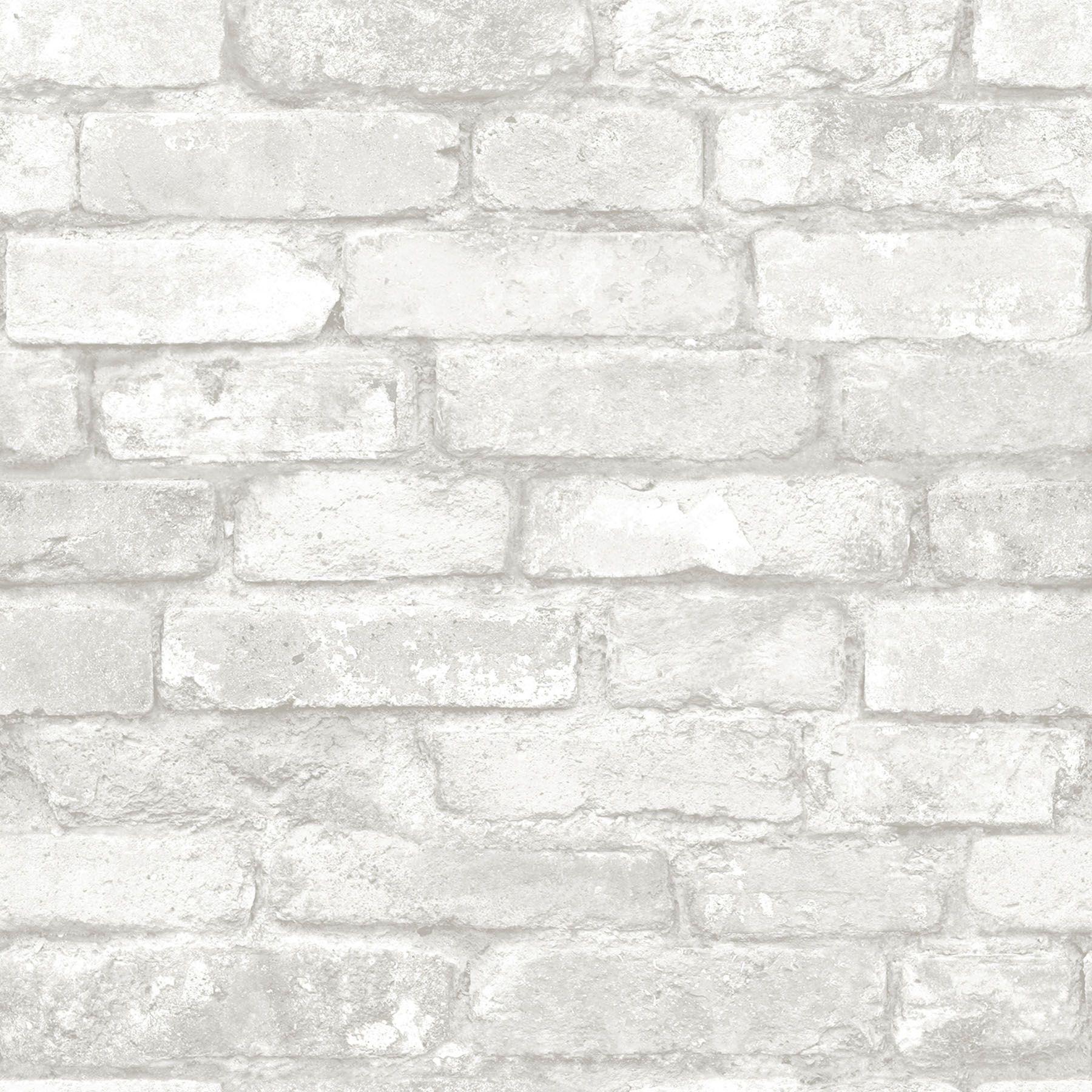 Nuwallpaper Grey And White Brick Peel Stick Wallpaper Walmart Com Brick Effect Wallpaper Removable Brick Wallpaper White Brick Wallpaper