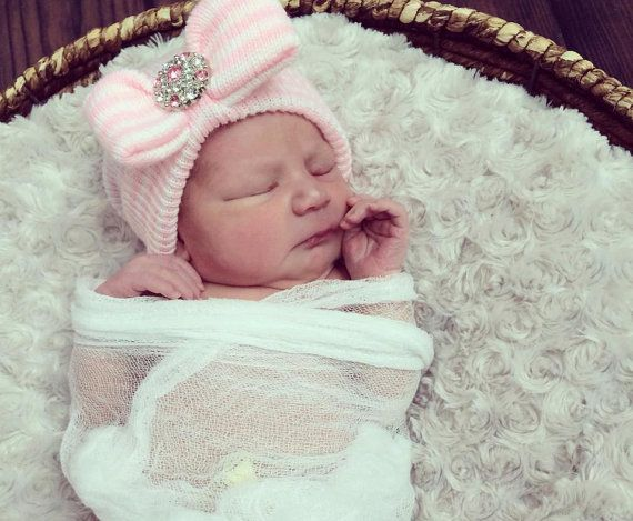 Newborn girl take home outfit newborn beanie white and pink beanie with bow portait hat newborn hospital hat girl newborn easter baby on etsy 22 99