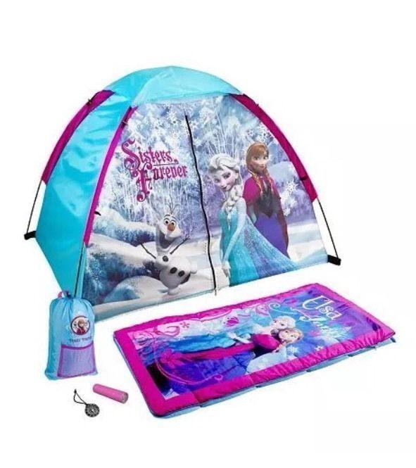1919d5ae756 Disney Frozen Play Tent Camping Set Sleeping Bag Flashlight Elsa Anna Olaf  Girls  Exxel