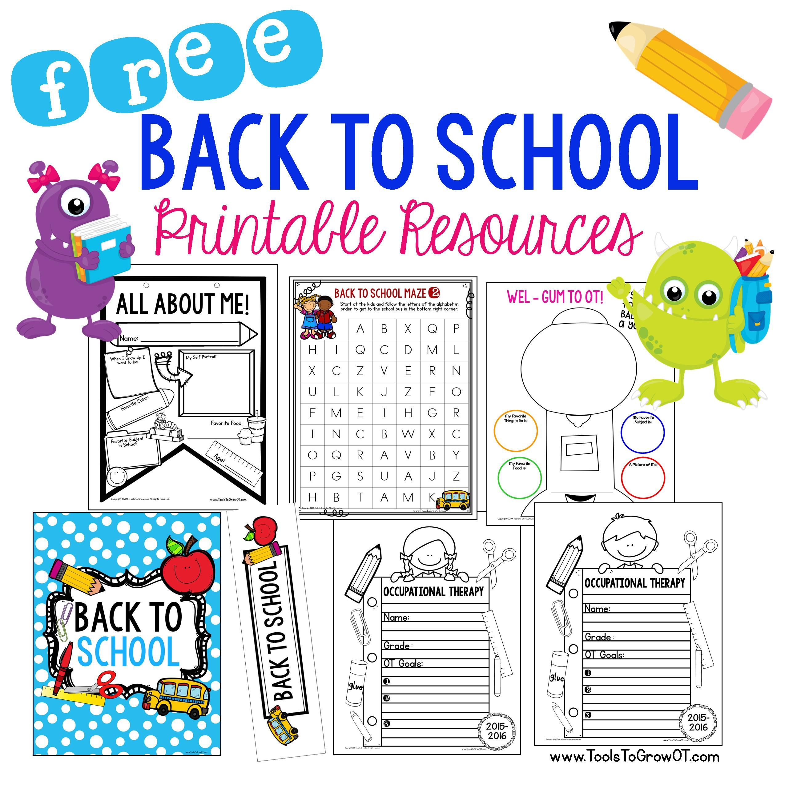 Free Back To School Printable Resources