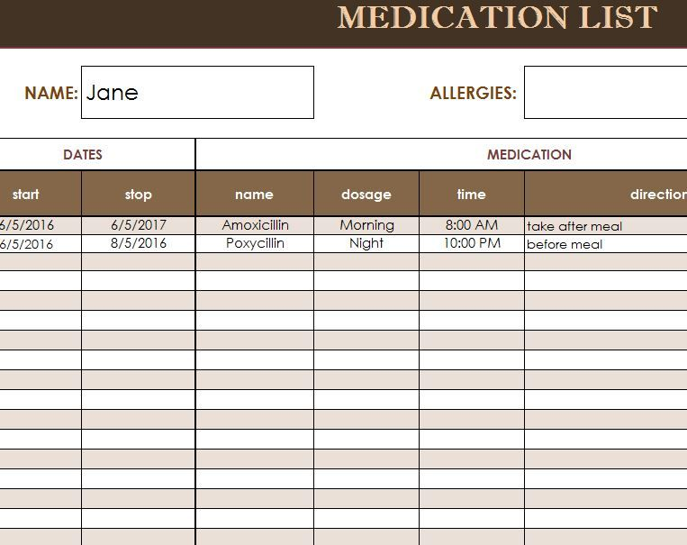 free medication administration record template excel - Yahoo Image - Medication List Template Excel