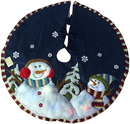 48 Inch Snowman Christmas Tree Skirt With Lights Amazonuk