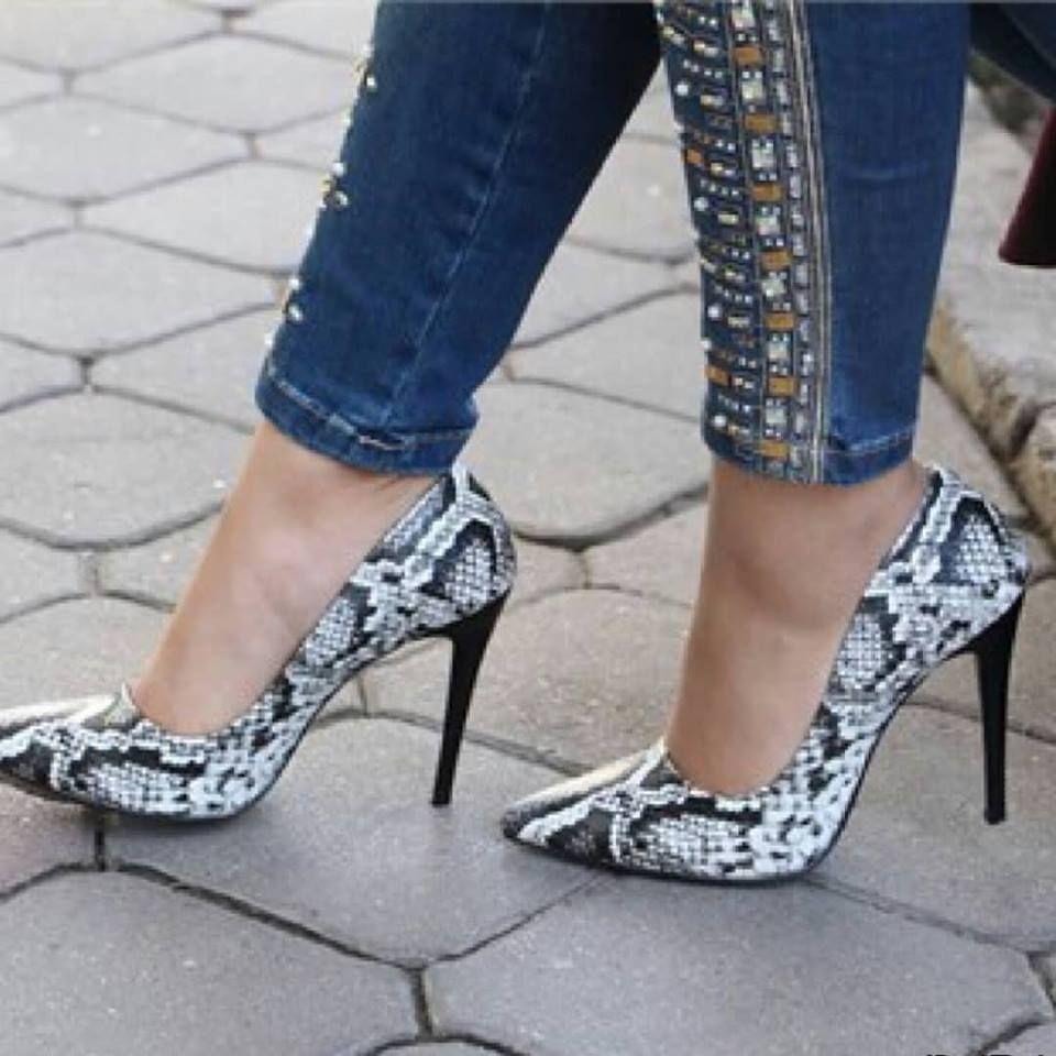 Yilan Derisi Desenli Topuklu Ayakkabi 2428 Heels Shoes Shoes Heels