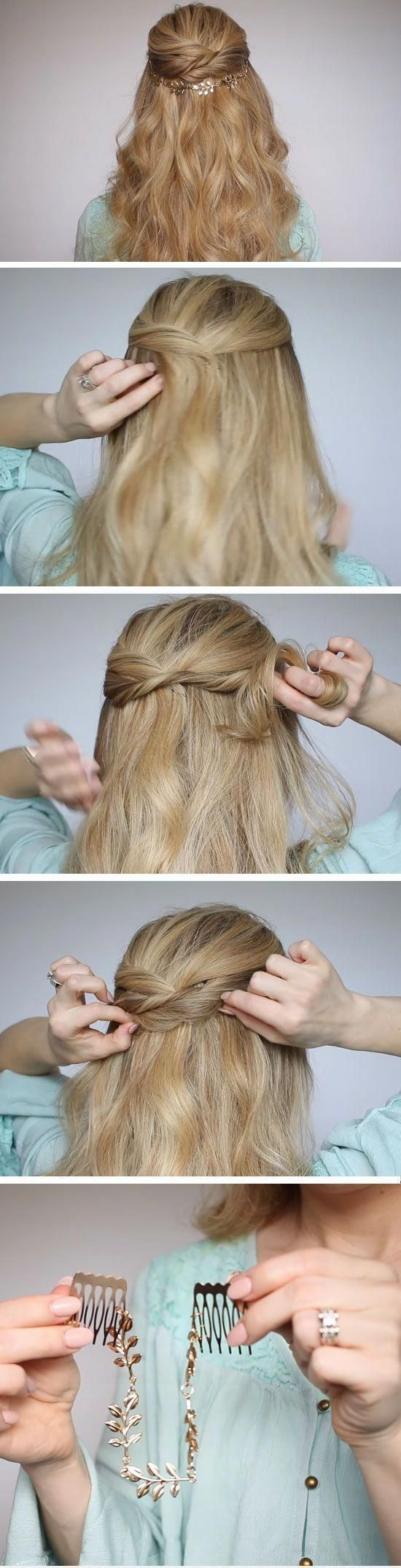 Twisted Half-up Half-down | Quick DIY Prom Hairstyles for ...