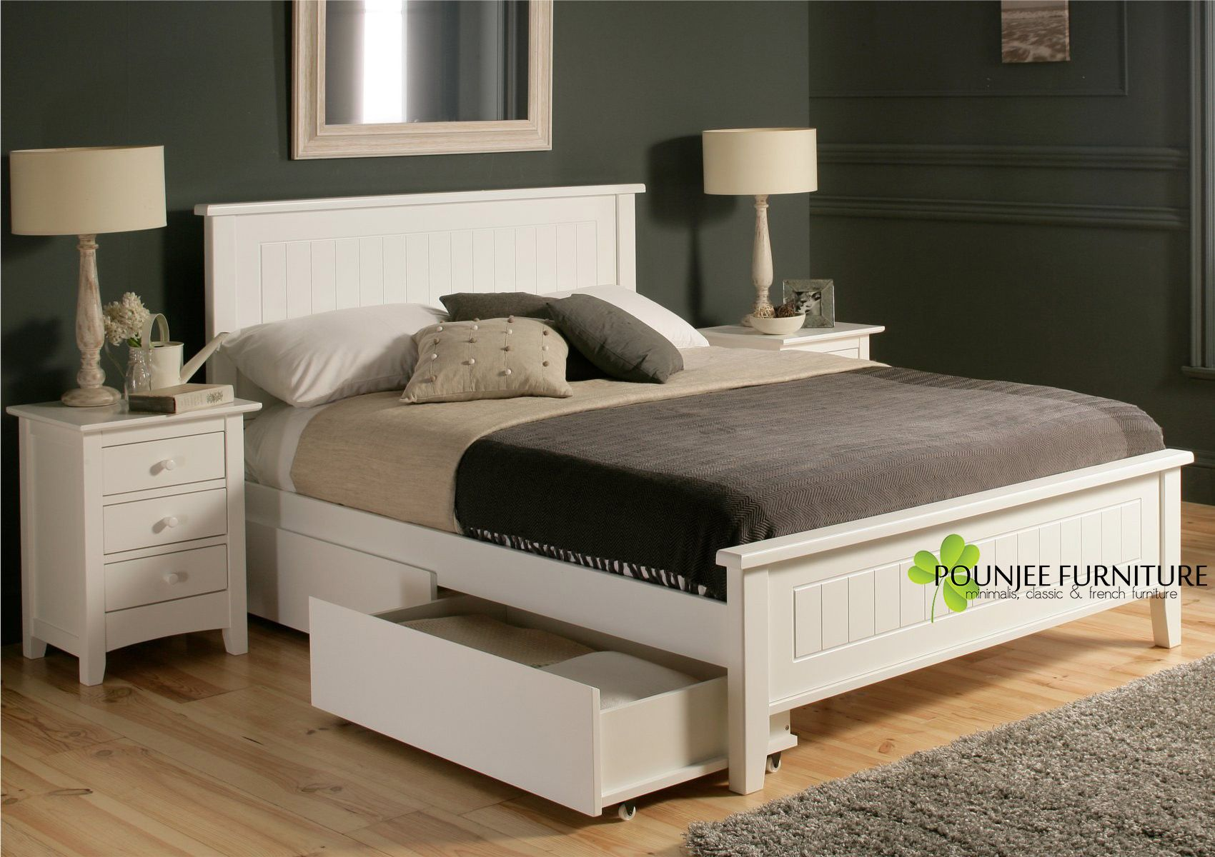 Tempat Tidur Minimalis Duco Putih White Bed Frame White Wooden Bed Bed With Drawers Underneath