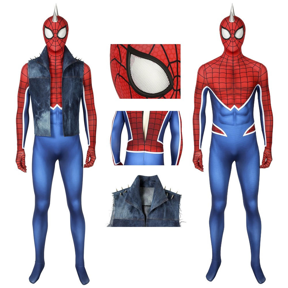 Ps4 Spiderman Punk Suit Spider Man Cosplay Costume Spiderman Spiderman Suits Spiderman Costume