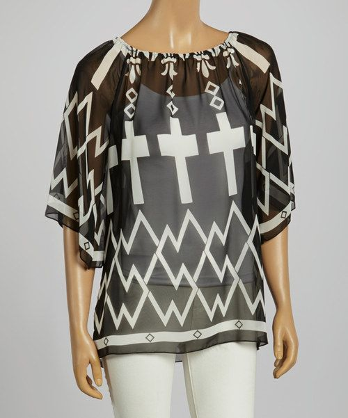 Take+a+look+at+the+Black+&+White+Zigzag+Scoop-Neck+Top+on+#zulily+today!