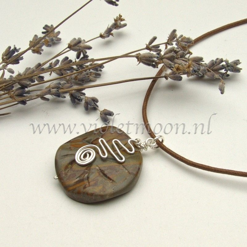 A wave petal jasper with a water-swirl from non tarnish silver plated artistic wire on a wax-cord necklace.