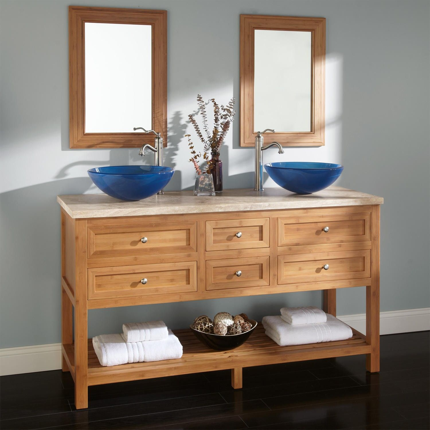 "60"" Thayer Bamboo Double Vessel Sink Vanity"