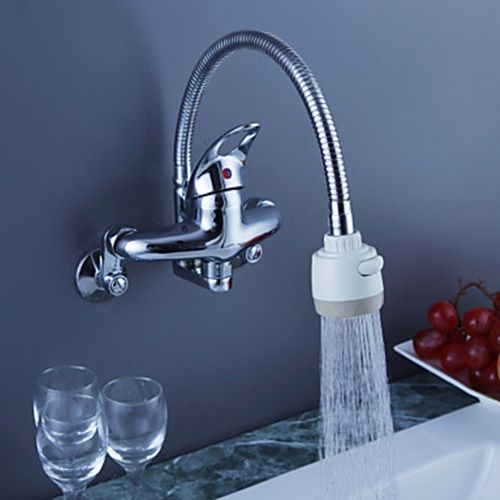 Chrome Finish Brass Kitchen Faucet with Flexible Spout (Wall Mount ...