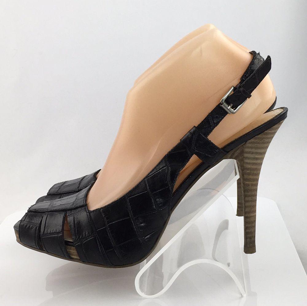 64400435d6 Nine West Junnet Slingback heels Size 9 Black Leather Croc print Peep Toe  shoes #NineWest #Slingbacks #Casual