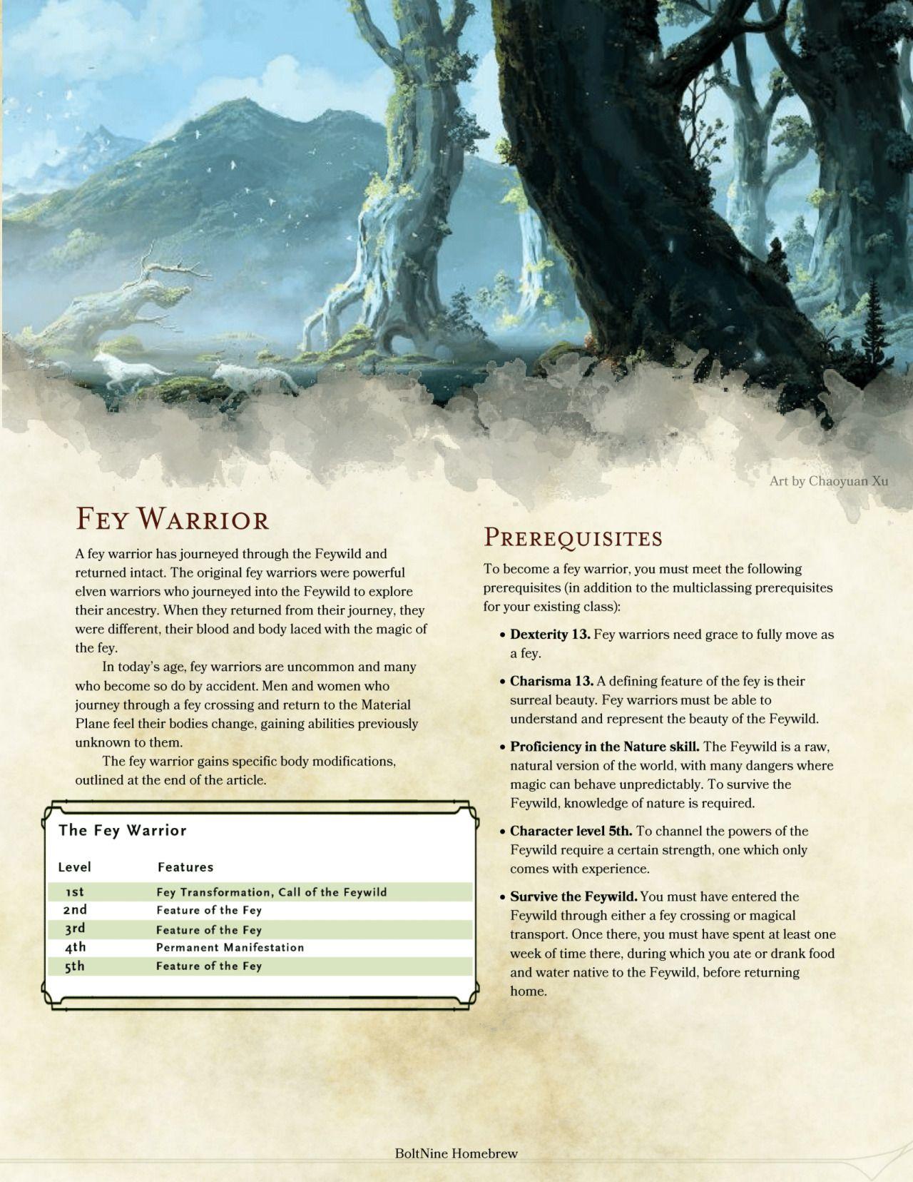 DnD 5e Homebrew — Fey Warrior PrestigeClass by AshenGT